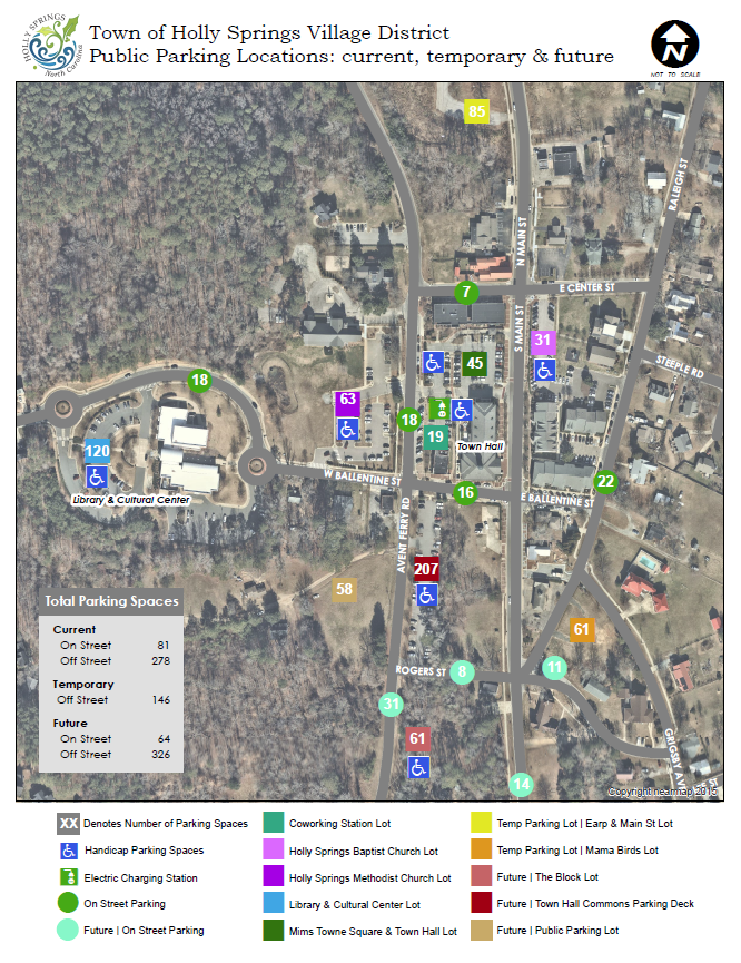 Current, Temporary and Future Parking Lots