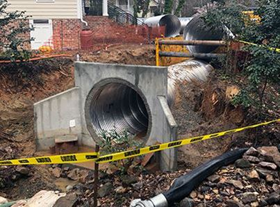 storm drain being repaired